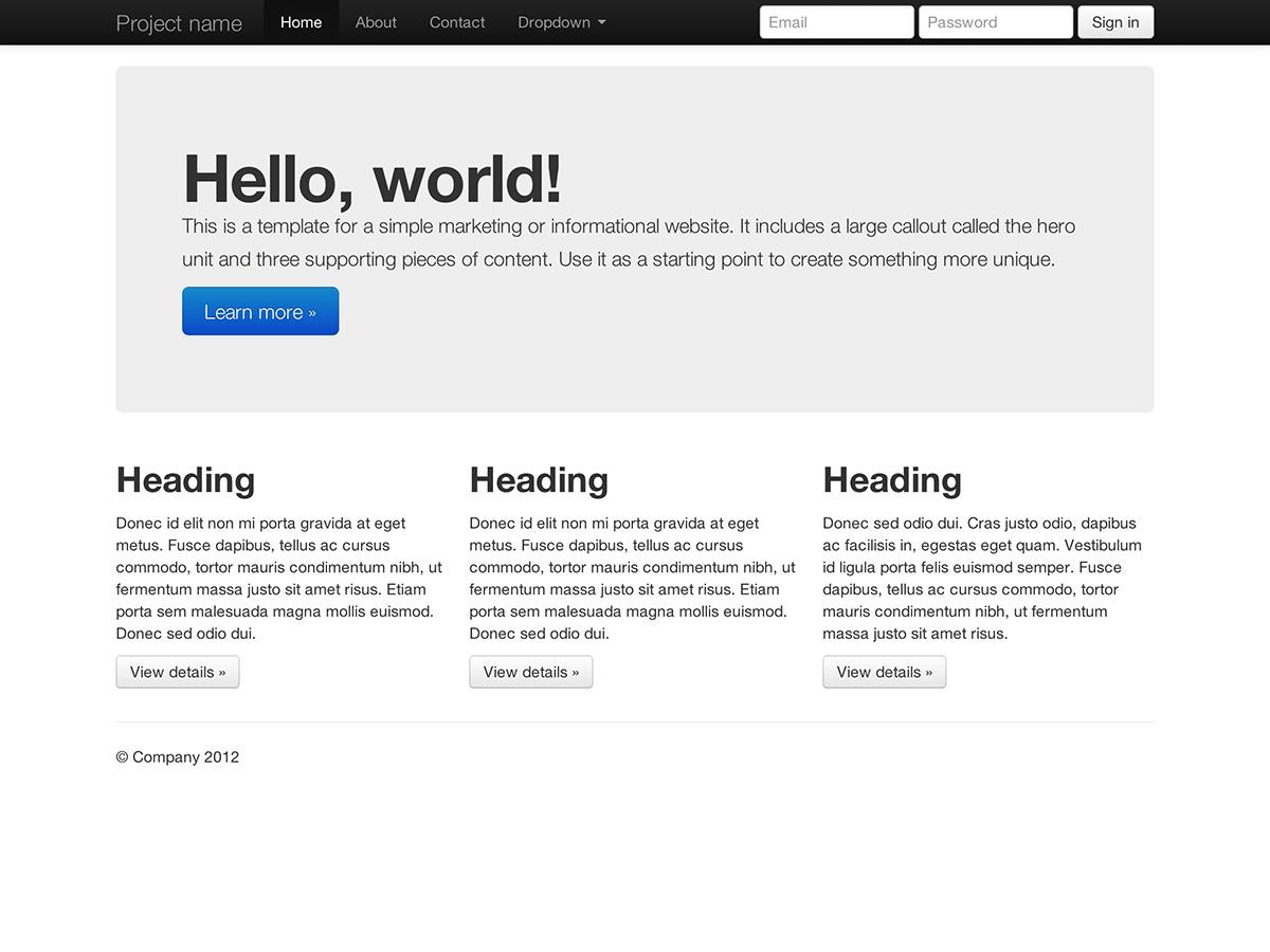 Getting bootstrap basic marketing site maxwellsz