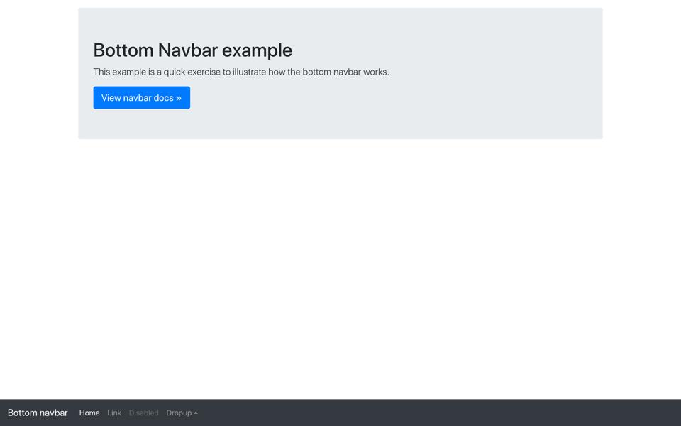 Bottom navbar example for Bootstrap