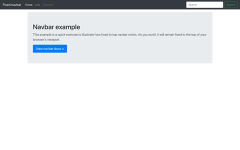 Navbar fixed ekran görüntüsü